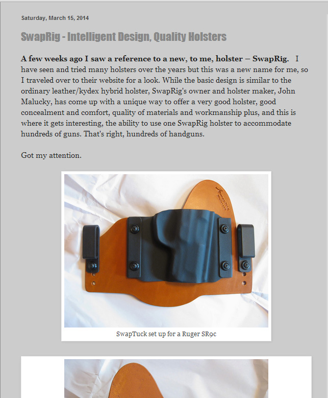 SwapRig Holsters Review Self Defense Carry SDCarry